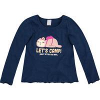"Blusa ""Letâ´S Camp!""- Azul Marinho & Amarelo Clarohering"