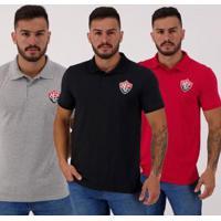 Kit 3 Camisetas Polos Vitória Masculina - Masculino
