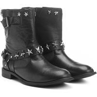 Bota Couro Biker Shoestock Estrelas Feminina - Feminino-Preto
