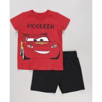 CEA  Conjunto Infantil Carros De Camiseta Manga Curta Vermelha + Bermuda Em  Moletom Preta bf7fd453fb343