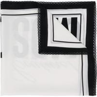 Moschino Echarpe Branca De Seda Com Logo Couture - Branco