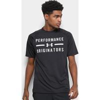 Camiseta Under Armour Tech Ss Originators Masculina - Masculino-Preto+Branco