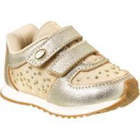 Tênis Infantil Klin Mini Walk Strass Feminino - Feminino-Dourado