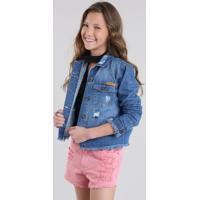 Jaqueta Jeans Detroyed Azul Médio