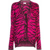 Saint Laurent Cardigan Jacquard Animal Print - Rosa