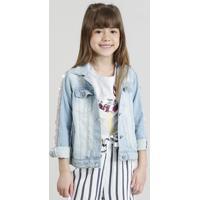 Jaqueta Jeans Infantil Com Paetês Manga Longa Azul Claro