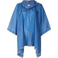 Moncler Poncho Com Capuz - Azul