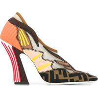 Fendi Sapato Com Patchwork - Marrom