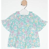 Blusa Floral Com Pregas- Azul Claro & Rosabenetton
