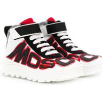 Moschino Kids Tênis Cano Alto Com Logo - Branco