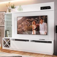 Rack Com Painel Para Tv Até 50 Polegadas 2 Portas 2021 Bac Branco - Quiditá Móveis