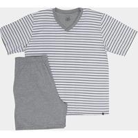 Pijama Lupo Listrado Gola V Masculino - Masculino-Mescla