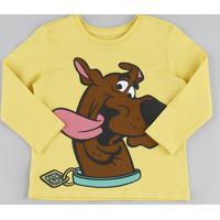 Camiseta Infantil Scooby Doo Manga Longa Amarela