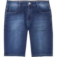 Bermuda Jeans Slim Com Elastano Masculina - Masculino-Azul