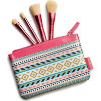 Conjunto De Nã©Cessaire Com Mini Pincã©Is- Pink & Begethe Beauty Box