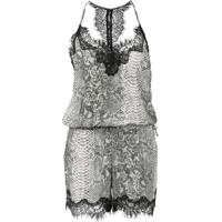 Gold Hawk Snakeskin Print Playsuit - Cinza