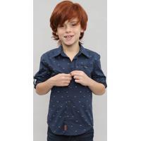 Camisa Infantil Estampada Geométrica Com Bolso Manga Longa Azul Marinho