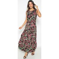 Vestido Longo Floral- Preto & Rosavip Reserva