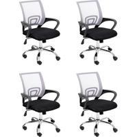 Conjunto Com 4 Cadeiras De Escritório Secretária Giratórias Java Preto E Cinza