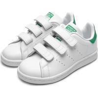 Tênis Couro Adidas Originals Menino Stan Smith Cf C Branco/Verde