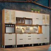 Cozinha Duquesa Completa Com Led - 6 Peças - Freijó Com Offwhite – Nesher