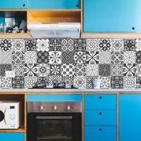Adesivo Azulejos Cozinha Retrô Preto (20X20Cm)