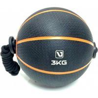 Bola Liveup De Peso Medicine Ball Ls3006E/3 Com Corda 3Kg - Unissex