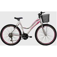 Bicicleta Aro 26 Mtb 18 Marchas Musa Feminina Com Cestão Branca/Rosa Athor Bikes