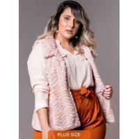 Colete De Pelo Plus Size Rosa