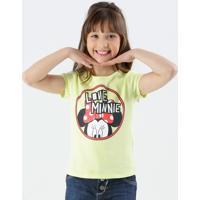 Blusa Infantil Minnie Manga Curta Disney