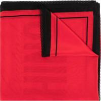 Moschino Lenço De Seda Com Estampa De Logo - Vermelho