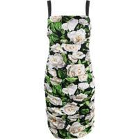Dolce & Gabbana Vestido Mini Com Estampa De Rosa E Franzido - Preto