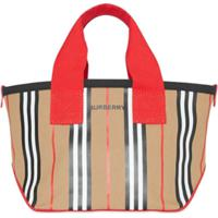 Burberry Kids Bolsa Tote Icon Listrada - Neutro