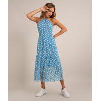 Vestido Midi Halter Neck De Tule Estampado Floral Com Recorte Azul