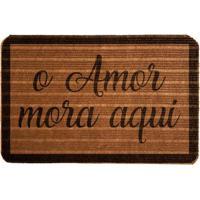 """Capacho Antiderrapante """"O Amor Mora Aqui""""- Marrom Claro Wevans"""