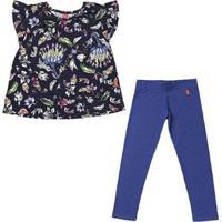 Conjunto 2 Peças - Bata Floral + Legging Denim Feminino - Feminino-Azul Escuro