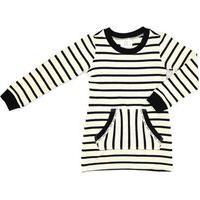 Vestido Infantil / Teen Em Malha Enrugada Com Listras Com Detalhe No Bolso Em Cadarço - Two In Cru