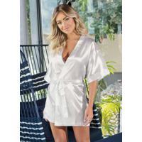 Robe Branco Com Mangas Curtas