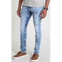 Calça Jeans Masculina Skinny Com Bolsos Azul Médio