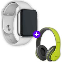 Kit Smartwatch Iwo9 44Mm Branco + Headphone Bluetooth P47 Verde