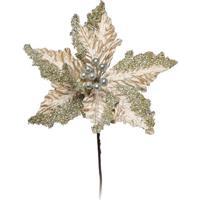 Flor Decorativa Poinsettia- Dourada- 40X20X20Cm-Cromus