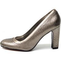 Sapato Bianti Couro Estampa Cobra Prata Velha