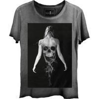 Camiseta Estonada Gola Canoa Skull Ghost Corte A Fio