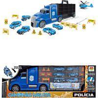 Caminhão Carreta De Brinquedo Grande Maleta Patrulha Carrinho Polícia