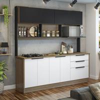 Cozinha Compacta Vitrum 6 Pt 3 Gv Branca E Preta