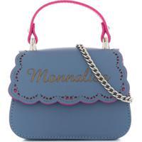 Monnalisa Bolsa Tiracolo Com Logo - Azul