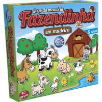 Jogo Da Memória Em Madeira Pais E Filhos Fazendinha 40 Peças Multicolorido