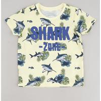 "Camiseta Infantil ""Shark Zone"" Estampada Manga Curta Amarelo Claro"