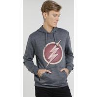 Blusão Masculino The Flash Em Moletom Com Capuz Cinza Mescla Escuro