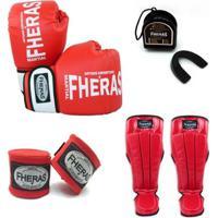 Kit Boxe Muay Thai Orionluva Bandagem Bucal Caneleira08 Oz - Unissex